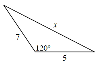 Triangle labeled as follows: left side, 7, right side, x, bottom side, 5, left bottom angle, 120 degrees.