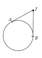 Circle, point on far right labeled, b, point in second quadrant labeled, a, point outside & up & right of circle labeled, t, segments from, T to A, and from, T to B.
