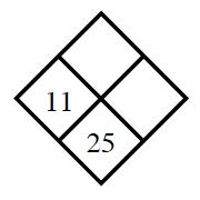 Diamond Problem. Left 11, Right blank, Top blank,  Bottom: 25