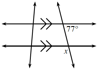 2 horizontal parallel lines, are crossed by transversal line, with angles labeled as follows:  Upper intersection: interior right, 77 degrees. Lower intersection: exterior left, x.