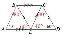 Angle B is A, B, E, is 80 degrees and angle D, C, E, is 80 degrees.