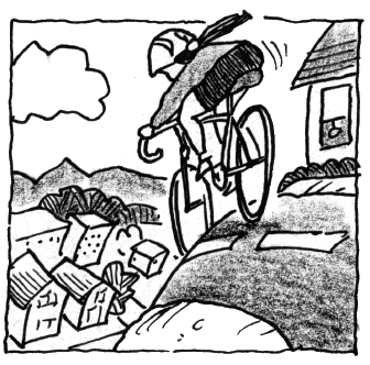 Marquita riding her bicycle down a hill.