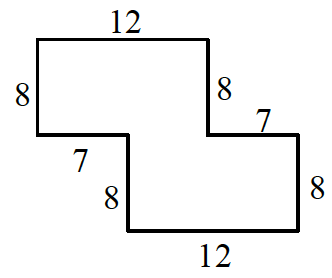 An enclosed figure: Starting at the upper left, right 12, down 8, right 7, down 8, left 12, up 8, left 7, up 8 to enclose the figure.