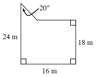 An enclosed figure of a rectangle with a right triangle connected at the top left corner. The top angle of the triangle is 20 degrees. The length of the rectangle is 16 m. The width of the rectangle on the right side is 18 m. The width of the rectangle on the left side with the addition of the triangle is 24 m.