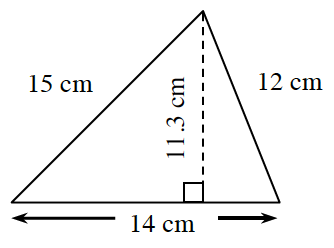 A triangle with a base of 14 cm, left side, 15 cm, and right side, 12 cm.  Two internal triangles are created by a line segment, of 13 cm, drawn from the upper vertex, to the base, at right angles.