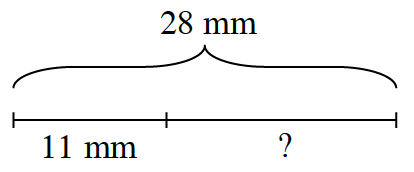 A segment, labeled 28 mm, is divided into 2 sections, labeled as follows: 11 mm, and question mark.