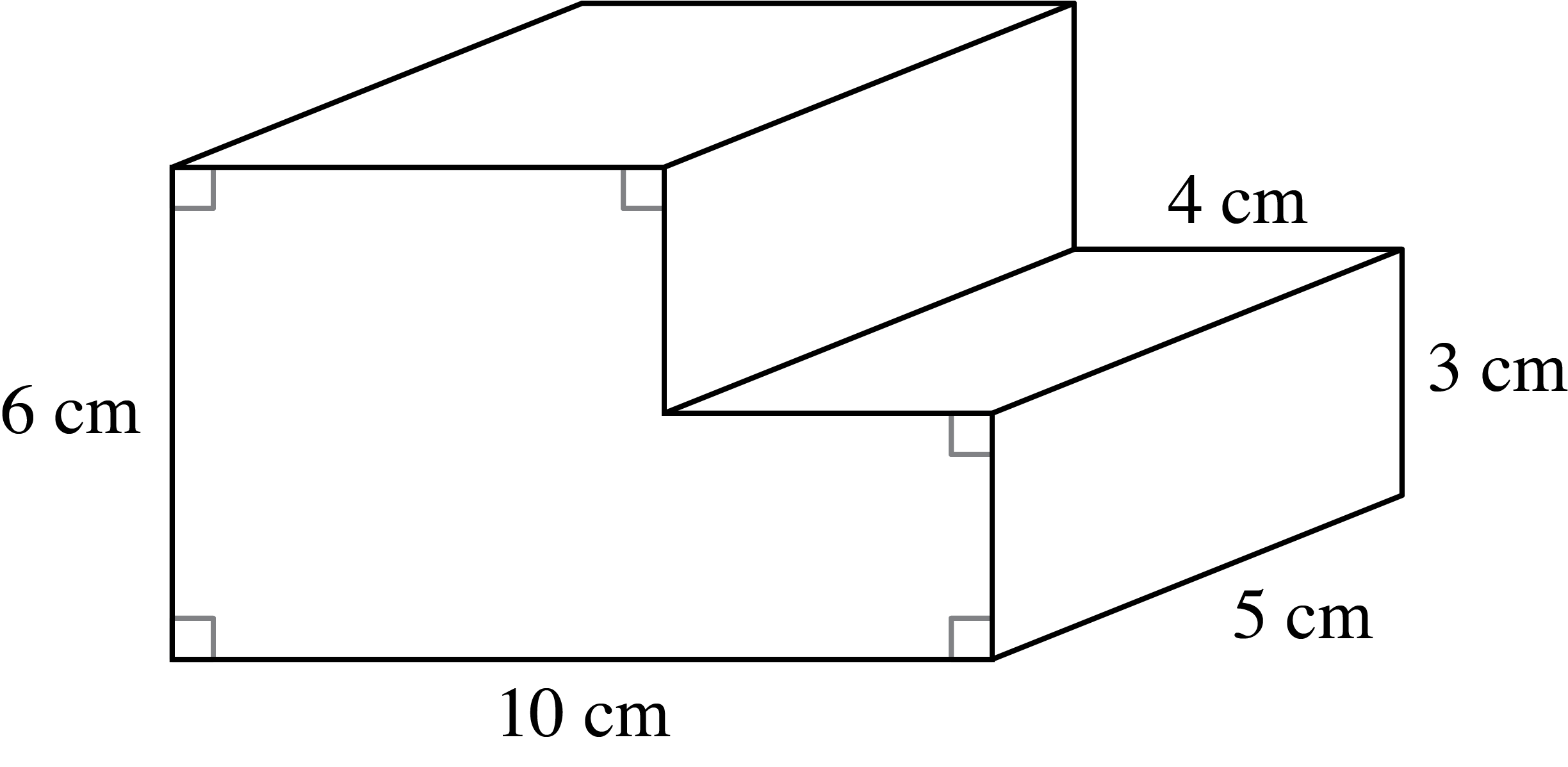 A prism in centimeters where the base is as follows: Draw down, 6, then right, 10, up 3, left 4, up 3, left 6 to enclose the base.  The height of the prism is, 5 centimeters.