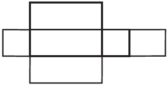 A column of 3 congruent, horizontal, rectangles. A square is connected to the left and right side of the middle rectangle. The square on the right side, has a rectangle of a different length, connected to its right side.