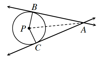 2 lines, intersecting at point, a. Top line is tangent to circle with center p, at point, b. Bottom line is tangent to circle, with center, p, at point, C. Line segments from, B, to, P, and from, P, to, C. Dashed line segment from, A, to, P.