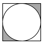 A circle inscribed in a square. The regions where the circle does not touch the box in the upper right corner and lower left corner are shaded.