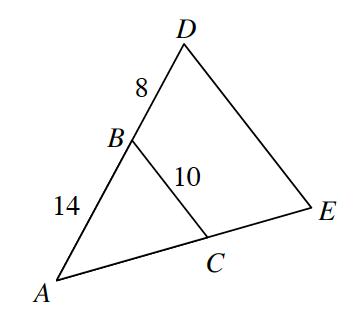 Triangle A, D, E. Line B, C is drawn parallel to D, E inside the triangle. Line segment B, C is 10. Side A, B is 14, side B, D is 8.