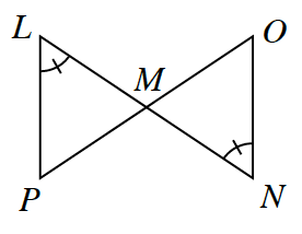 Two lines L, N and P, O intersect at point, M forming two triangles L, M, P, and M, N, O, Angles, L, and N, have 1 tick mark.
