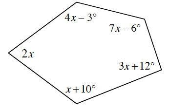 A polygon with 5 sides. It has angles of 2x, and 4x minus 3, and 7x minus 6, and 3x + 12,  finally, x + 10 degrees.