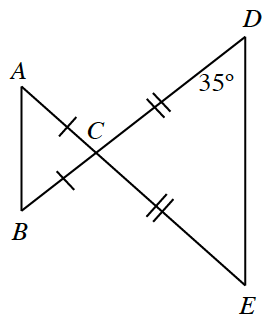 Triangle A, B, C, is connected to triangle C, D, E, at vertex C. A, C, E and B, C, D are both straight lines. Side A, C and side B, C each have one tick mark. Side C, D and side C, E each have two tick marks. Angle D, opposite a side with 2 tick marks, is 35 degrees.
