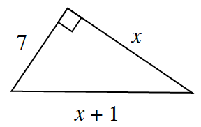 A right triangle with a base of x, a height of 7, and a hypotenuse of x + 1.