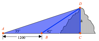 Added to triangles, horizontal leg, left vertex labeled, A, right angle vertex labeled c, point between labeled, b, top vertex labeled, d.