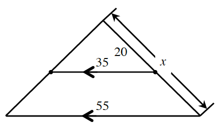 2 triangles, share top vertex, right & left sides, of smaller triangle, extended to create right & left sides of larger, triangle. Smaller triangle labeled: Bottom, 35, marked with 1 arrow, right side, 20. Larger triangle labeled: bottom, 55, marked with 1 arrow, right side, x.