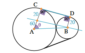 Segment added from center A to Center B, point added on radius, A C, dividing it into 2 sections, inner section labeled 60, outer section labeled 20, line through new point & center point Bm with radius, B D, labeled 20, angles A C D, & B D C each labeled 90 degrees, angle, C A B labeled theta.