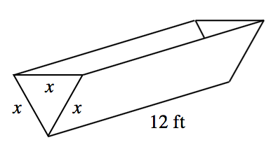 3 dimensional Equilateral triangular prism, sitting on one of its edges, with the triangular bases, front & back. Each side of front triangle, is labeled, x, and bottom edge of prism, is labeled, 12 feet.