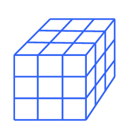 A rectangular prism composed of 3 layers of 3 by 3 squares.