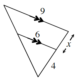 Two parallel lines, the first 9 units long and the second 6 units long, have a line connecting the left endpoints and extending downward until it meets with the line where the right endpoints are connected and its line extended downward. This formed a triangle where on the right side the distance between the 2 parallel lines is, x, and the distance between the second parallel line and where the two endpoint lines meet is 4.