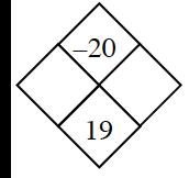Problema de diamante: izquierda, en blanco; derecha, en blanco; arriba, menos 20; abajo, 19