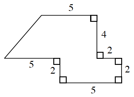 An enclosed figure. Starting from the upper left corner: right 5 , down 4, right 2  down 2 , left 5, up 2 , left 5 , & unknown to diagonally enclose the figure.