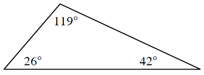 A triangle with three angles 26 degrees, 119 degrees, and 42 degrees.