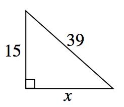 right triangle, 15, x, Hypotenuse = 39