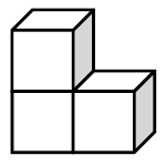 Two cubes side by side, with a third cube on top of the first. The front of all 3 cubes, the tops and right sides, of the top left and right cubes, are visible.