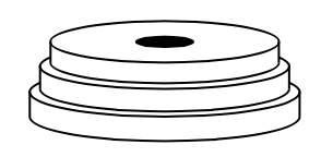 3 horizontal discs, stacked so their centers are aligned vertically, each disc is slightly smaller than the one below it.