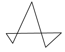 Three triangles connected at a vertex.