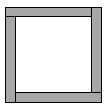 A frame figure for a 10 by 10 square. Each side piece of the frame, is a rectangle, with a row or column of 10 minus 1 or 9 tiles, that spans across the row or column and doesn't include the last tile. The last tile is always included in the row or column following.
