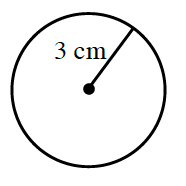 A circle, with a line segment, labeled 3 cm, from the center point to the edge of the circle.