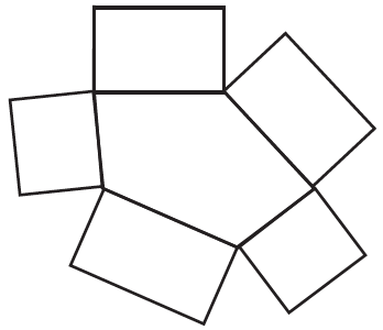 An irregular pentagon has 5 rectangles, connected to each of its 5 sides. Each rectangle has the same length, as its connected side of the pentagon, but all have the same width.