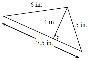 A triangle with a base of 7.5 inches, left side 6 inches, and right side 5 inches.  Two internal triangles are created, by a line segment of 4 inches, drawn from the upper vertex, to the base, at right angles .