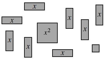 Following positive algebra tiles randomly places: 1 x squared tile, 8 x tiles, 1 unit tile.