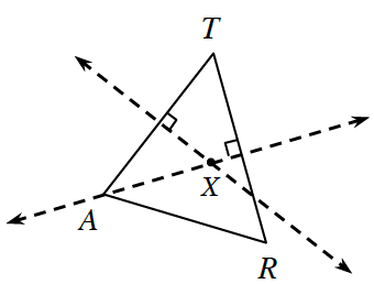 Triangle A,R,T, with 2 dashed lines, intersecting inside the triangle, at a point labeled, x. 1 line is perpendicular to side, RT, & goes through vertex, A, & 1 line is perpendicular to side, AT.