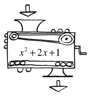 Function machine, with rule, x squared plus 2, x, plus 1. No input or output given.