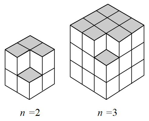 2 different 3 dimensional solids of cubes. First has 2 layers of 2 rows of 2 cubes, with the top right corner cube missing. Second has 3 layers of 3 rows of 3 cubes, with the top right corner cube missing.
