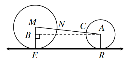 Two circles, left with center M, and radius, M, E, right with center A, and radius, A, r. Line E R is tangent to both circles, intersecting left circle at, E, and right circle at, r. Centers M and A are connected by a line segment which intersects left circle at, N, and right circle at, c. A dashed segment from, A, perpendicular to segment, M, E, at point, b.