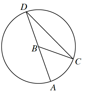 Circle with center, B, and points, D, C, a, line segments from, A, to, D, passing through, B, from, B, to C, from, C, to, D.