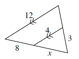 A triangle with a parallel line drawn inside to create a smaller internal triangle. The internal triangle has side lengths of x, 4, and 3. The parallel segments are the bases for both triangles. The internal base is, 4, the outer triangle base is, 12. Another side for the outer triangle is 8 + x which includes the, x, side from the smaller internal triangle.
