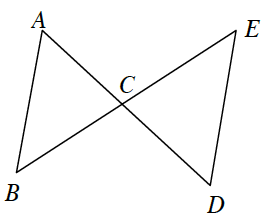 Lines A, D and B, E intersect at point C and create triangle A, B, C, and triangle C, D, E.