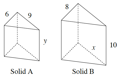 2 triangular prisms, left, Solid, a, labeled as follows: left side of top triangle, 6, right side of top triangle, 9, and right side of front rectangle, y. Solid, b, labeled as follows: left side of top triangle, 8, right side of top triangle, x, right side of front rectangle, 10.