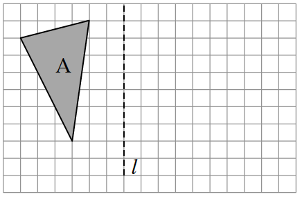 Figure A is a triangle on the left side of the vertical line of reflection, l. Figure A starts 2 units to the left of, l.  Then draw diagonally down 1 & left 4.  Then draw diagonally down 6 and to the right 3.  Then draw diagonally up 7 and right 1 to enclose Figure A.