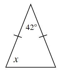 A triangle with a 42 degree angle between two equal sides. Angle x is opposite one of the equal sides.