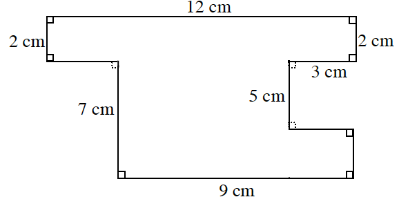 An enclosed figure: Starting at the upper left corner: right 12 centimeters, down 2 centimeters, left 3 centimeters, down 5 centimeters, right unknown, down unknown, left 9 centimeters, up 7 centimeters, left unknown, up 2 centimeters to enclose the figure.