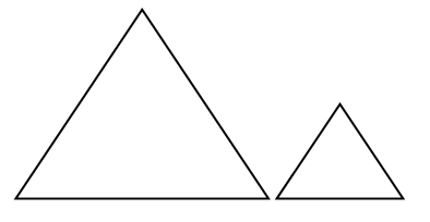 Two equilateral triangles, one smaller than the other.