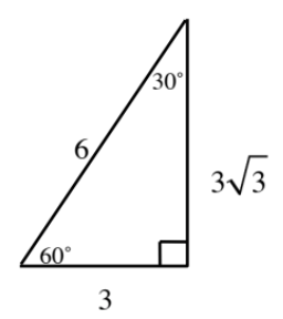 30, 60,90 triangle, labeled as follows: horizontal leg, opposite 30 degree angle, 3, vertical leg, 3 times square root 3, hypotenuse, 6.